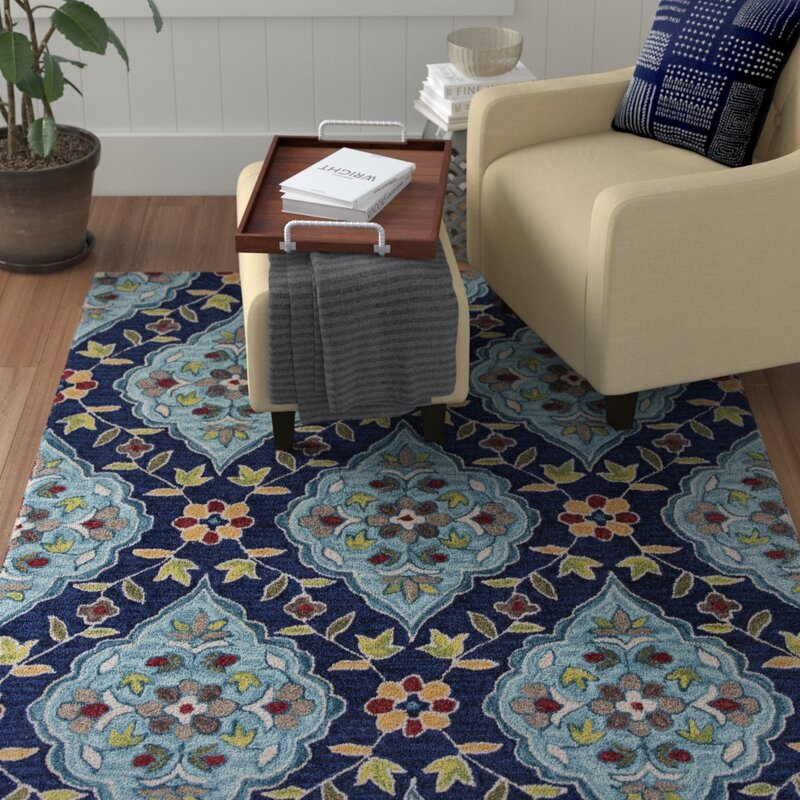 Red Barrel Studio Guillory Hand Hooked Navy Blue Yellow Area Rug