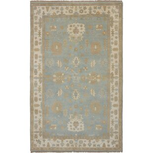 One Of A Kind Ad Ushak Hand Knotted Wool Ivory Light Aqua Area Rug