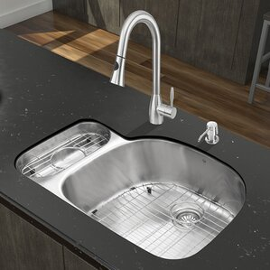 VIGO 32 inch Undermount 80/20 Double Bowl 18 Gauge Stainless Steel Kitchen Sink with Aylesbury Stainless Steel Faucet, Gri...