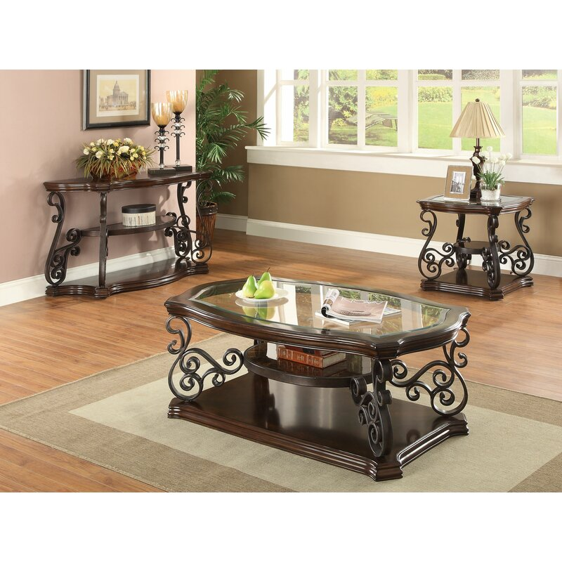 3 Piece Glass Top Coffee Table Sets.Bearup 3 Piece Coffee Table Set