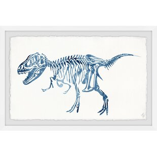 Xander Blue T-Rex Skeleton Framed Art by Viv   Rae