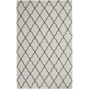 Hand-Woven Beige/Blue Area Rug