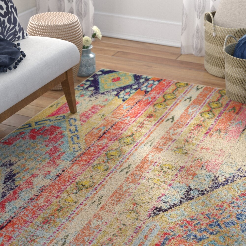 Mistana Newburyport Beige Orange Area Rug Reviews Wayfair