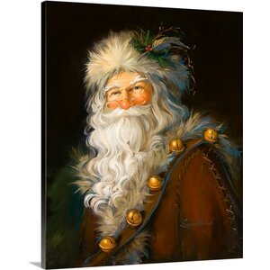 Christmas Art 'Father Christmas' by Susan Comish Graphic Art on Wrapped Canvas