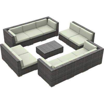 Brayden Studio Kirkpatrick 11 Piece Sectional Set With Cushions Fabric: Beige, Frame Color: Ash Gray