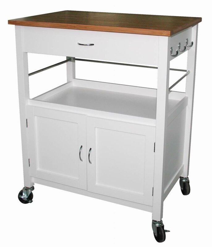 Good Guss Kitchen Island Cart With Natural Butcher Block Bamboo Top