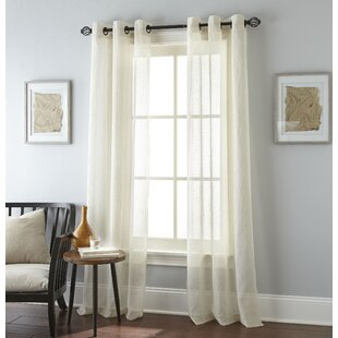 Linden Solid Semi Sheer Grommet Curtain Panel Set Of 2