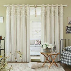 jacksonburg lace overlay blackout thermal grommet curtain panels set of 2