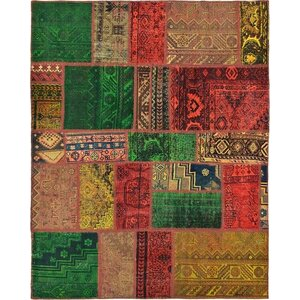Sela Vintage Persian Hand Woven Wool Red Patchwork Area Rug with Cotton Backing