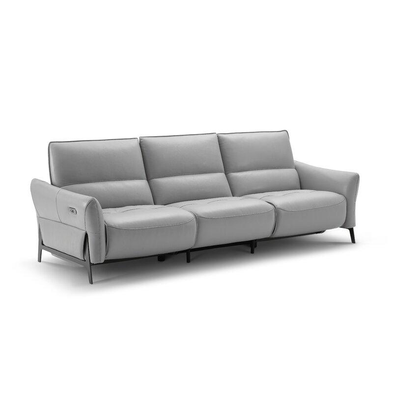 Orren Ellis Branchdale Leather Reclining Sofa Wayfair