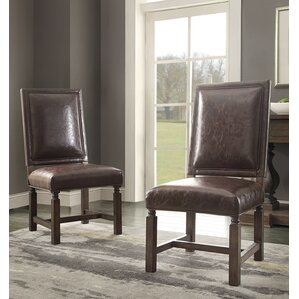 Distressed Genuine Leather Upholstered Dining Chair (Set of 2) by Hazelwood Home