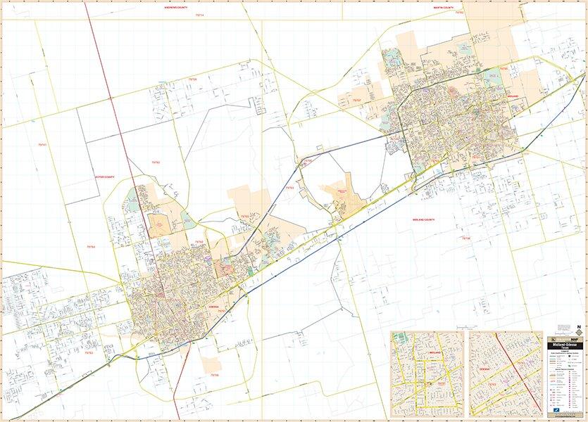 Map Of Texas Midland.Laminated Midland Odessa Tx Wall Map 52 X 72