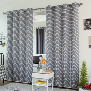Chevron Grommet Top Room Darkening Thermal Curtain Panels (Set of 2)