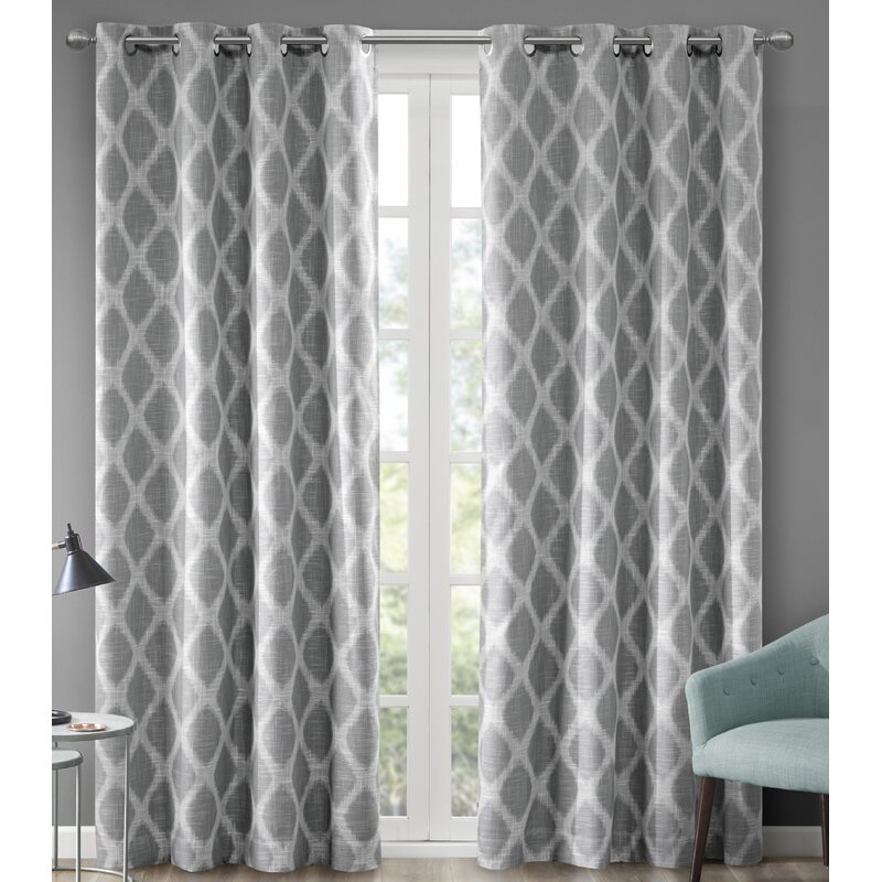 Ebern Designs Hutton Printed Ikat Blackout Single Curtain