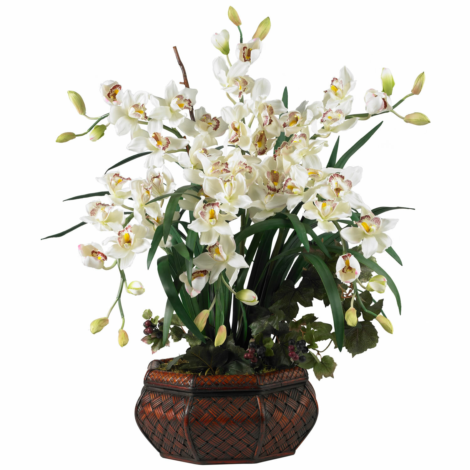 Nearly Natural Large Cymbidium Silk Flowers In White Reviews Wayfair