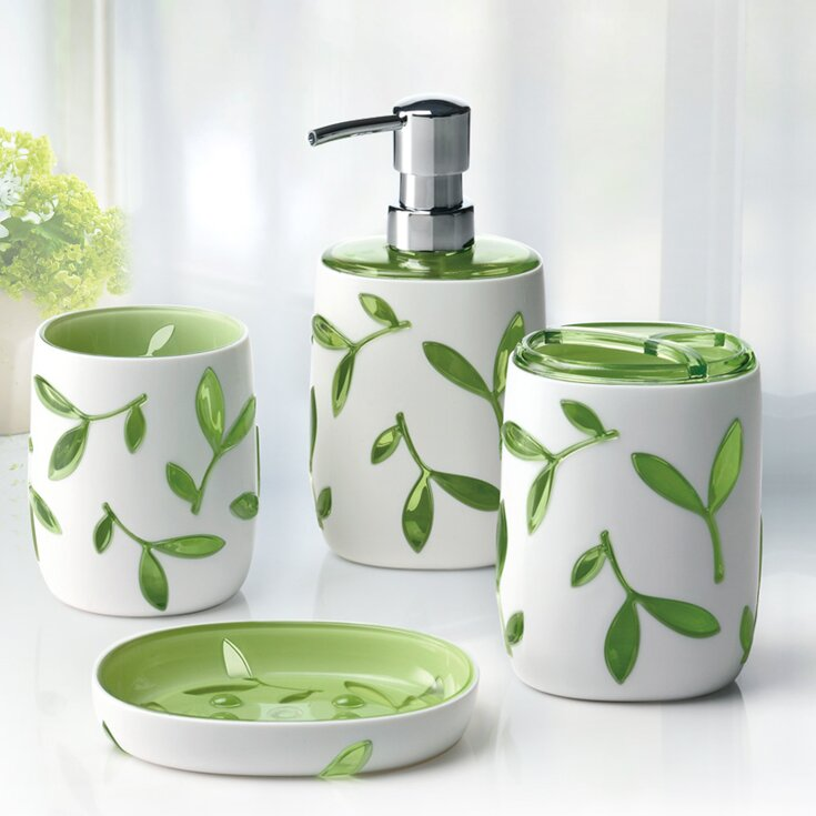 Immanuel olive 4 piece bathroom accessory set reviews for Bathroom 5 piece set
