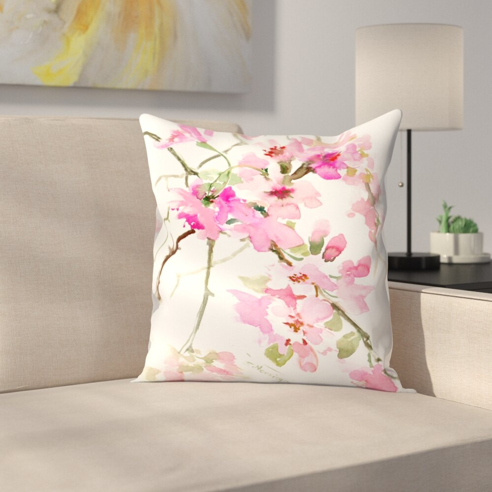 East Urban Home Pink Flower Throw Pillow Wayfair