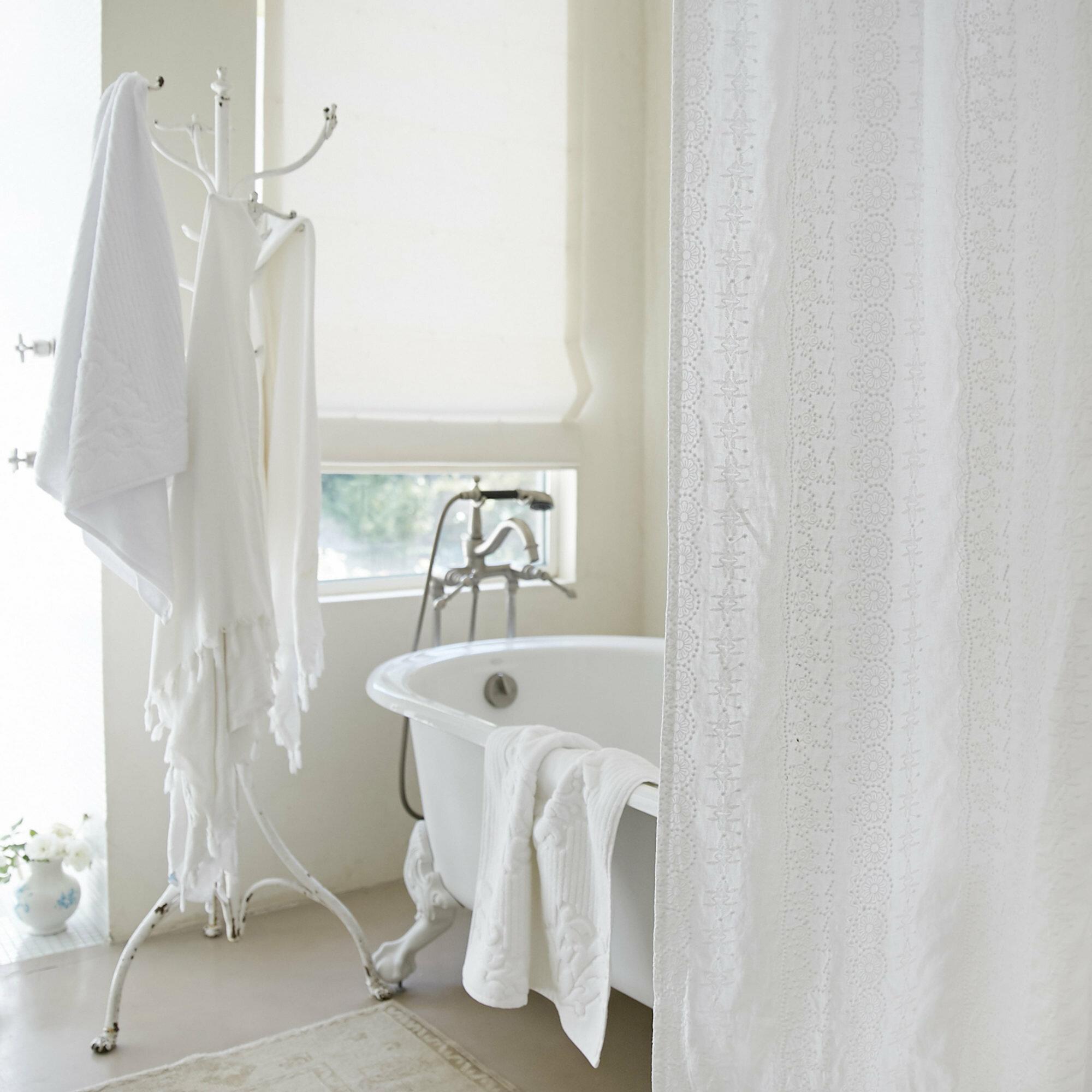 Rachel Ashwell Boho Embroidered Linen Shower Curtain