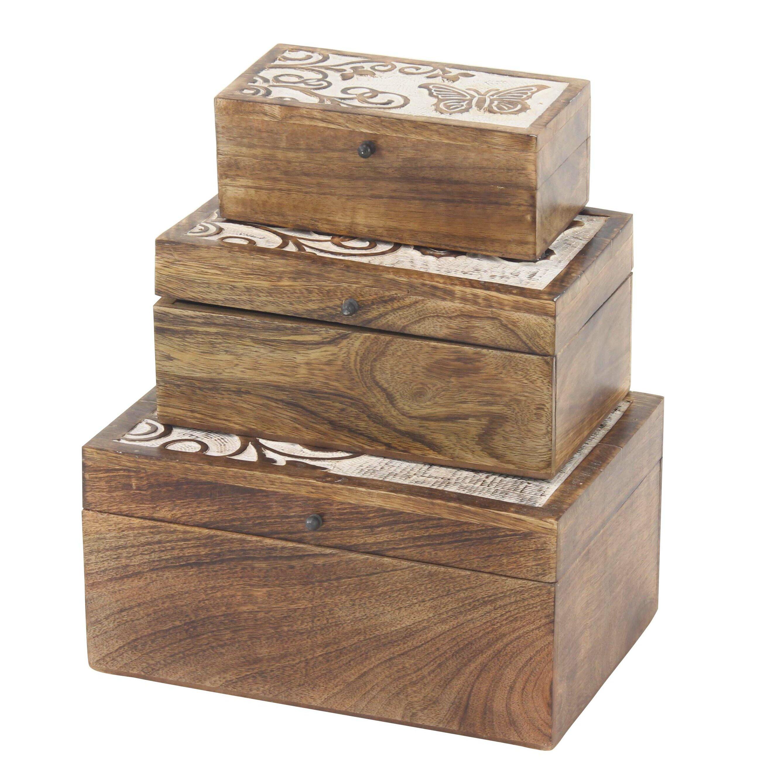 August Grove Derwin Butterfly 3 Piece Decorative Box Set
