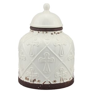Stonebriar Ceramic Cross Cookie Jar