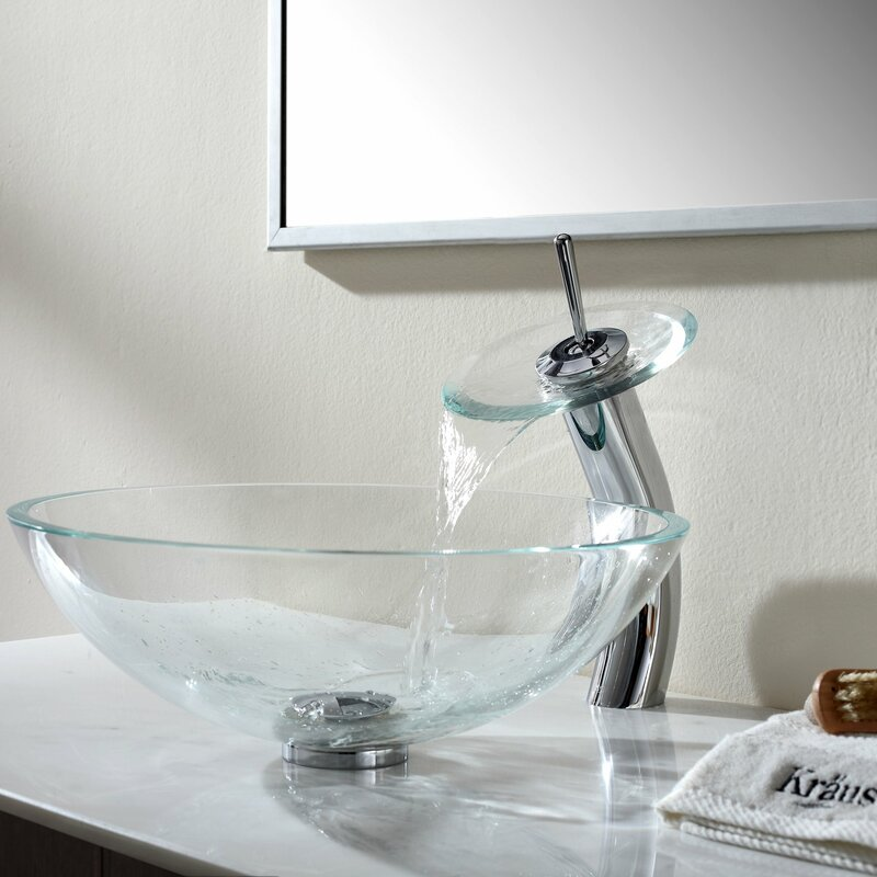 Crystal Glass Circular Vessel Bathroom Sink With Faucet