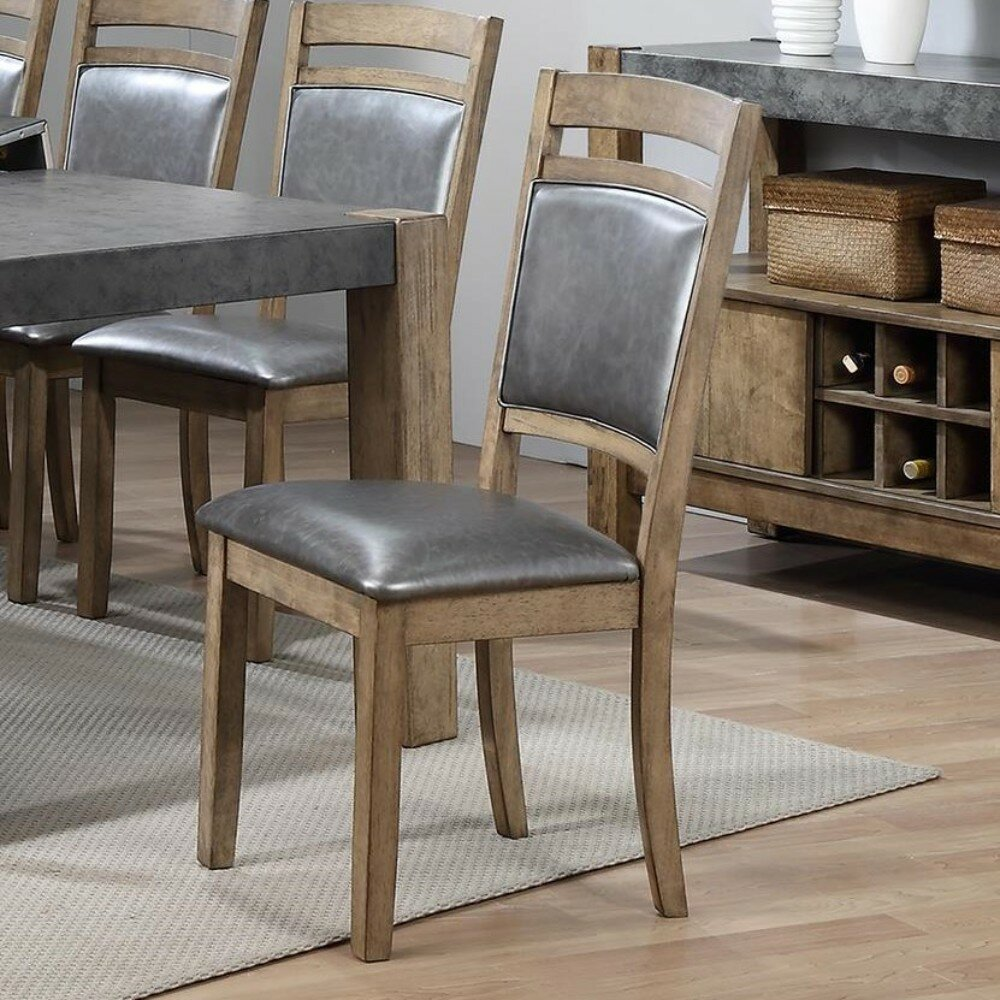 17 stories rubber wood dining chair with grey upholstery set of 2brown wayfair ca
