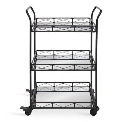 Bungalow Rose Menachem Metal 3 Tiered Tray Bar Cart Frame Color: Black