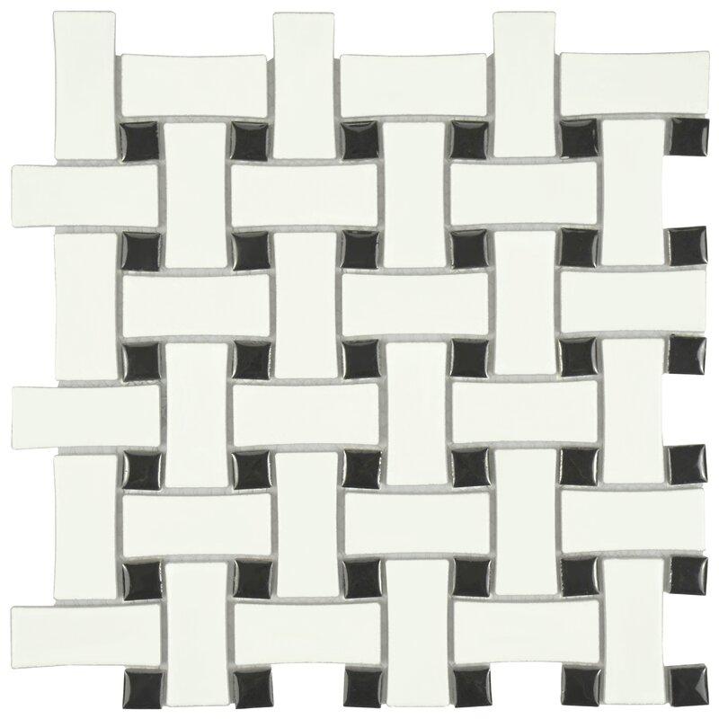 Interior Black And White Mosaic Tile retro basket weave random sized porcelain mosaic tile in matte whiteblack