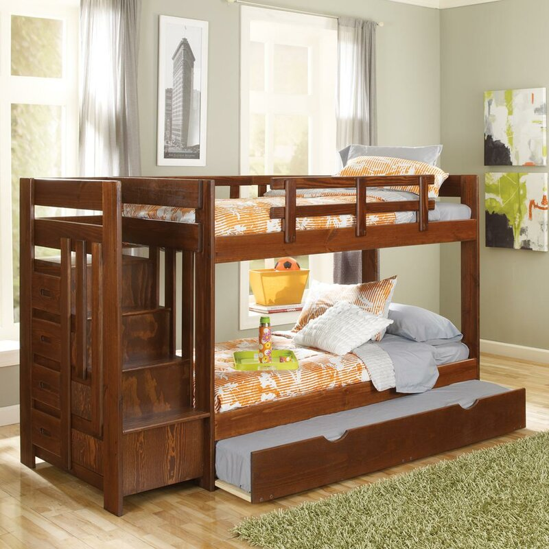 Chelsea Home Twin Over Bunk Bed With Trundle And Reversible Stair Wayfair Ca