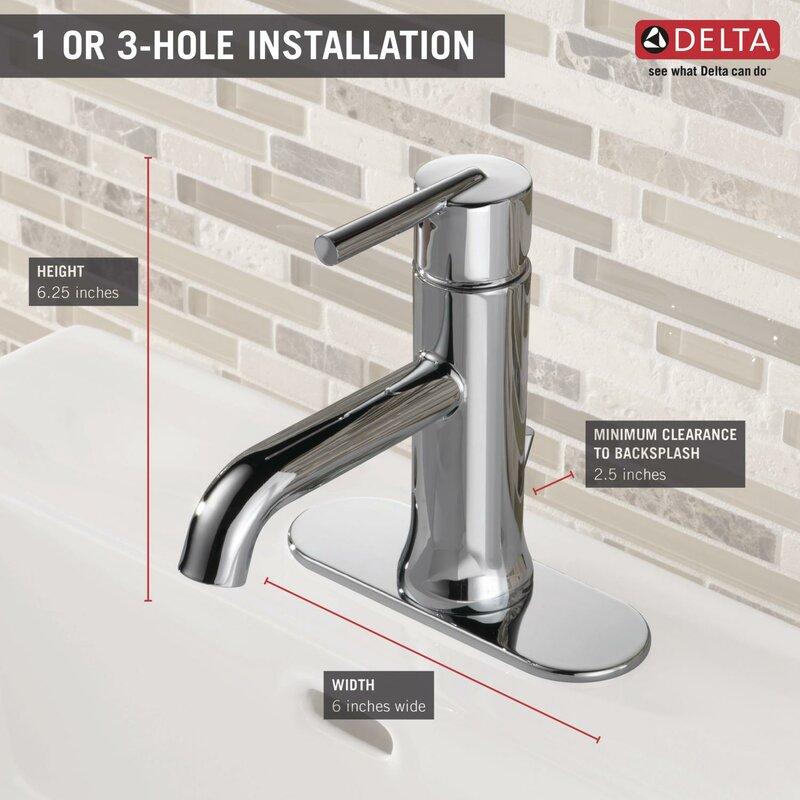 Delta Trinsic® Bathroom Single hole Bathroom Faucet with Drain ...