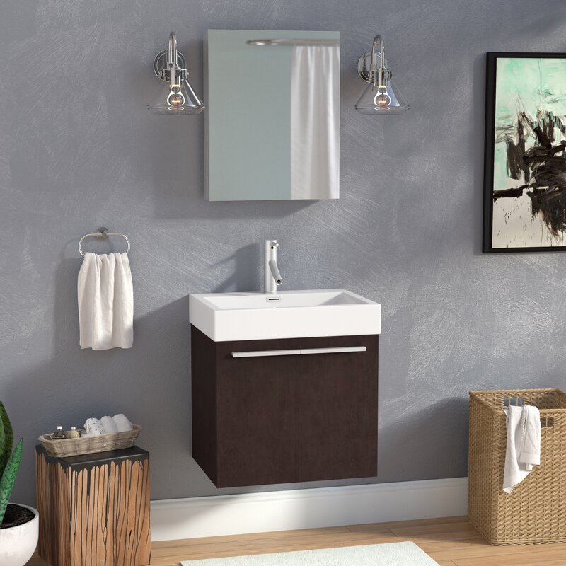 Frausto 23 Wall Mounted Single Bathroom Vanity Set With Mirror