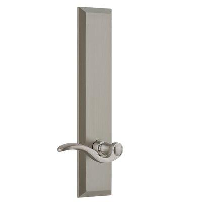 "Fifth Avenue Tall Plate Privacy Door Lever Grandeur Finish: Satin Nickel, Backset: 2-3/4"", Lever Orientation: Left"