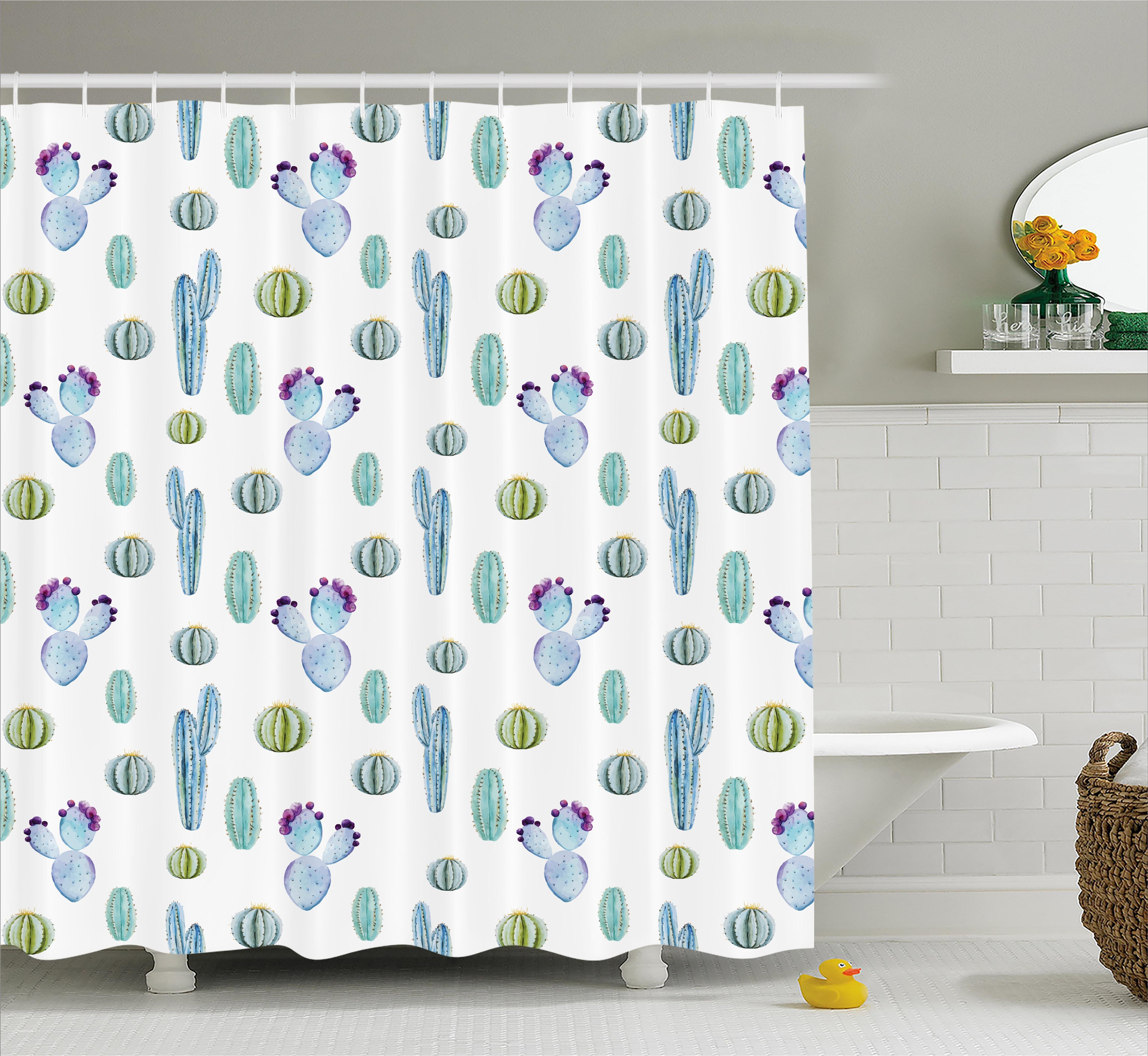 Zelida Blue Botanic Desert Flowers With Spikes Pattern Types Of Desert  Cactus Art Decor Single Shower Curtain