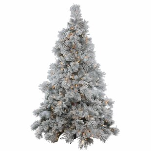 35 flocked whitegreen alberta artificial christmas tree with 150 clear lights with stand