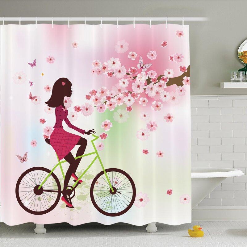 Cherry Bloom Lady On Bike Shower Curtain Set