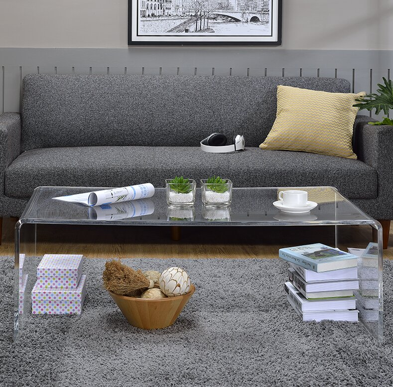 Tall Coffee Table wade logan melina acrylic tall coffee table & reviews | wayfair