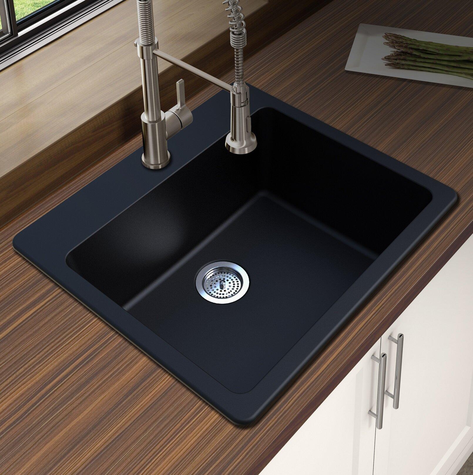winpro granite quartz 25 l x 22 w single bowl drop in kitchen sink rh wayfair com  kitchen sink overmount or undermount