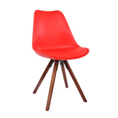 George Oliver Beyers Upholstered Dining Chair Leg Color: Walnut, Upholstery Color: Red