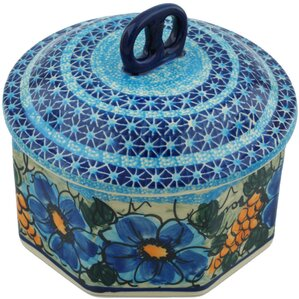 Polish Pottery Corn In The Blue With Lid Kitchen Canister