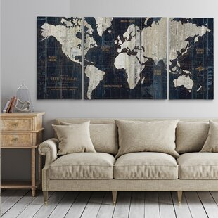 3 canvas art diy old world map blue piece graphic art print set on wrapped canvas youll love wayfair