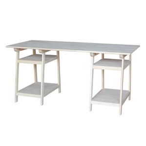 lucie solid wood trestle writing desk