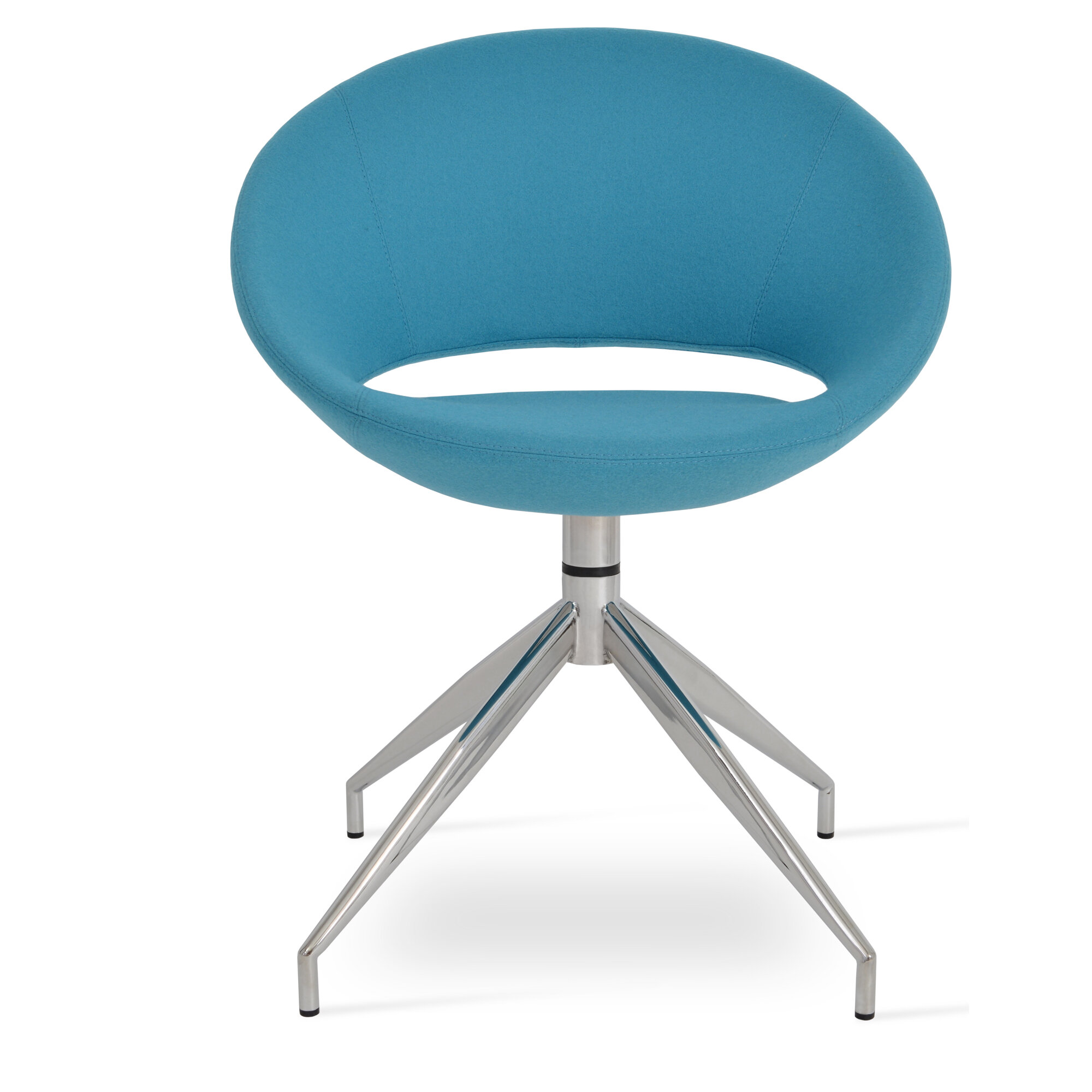 SohoConcept Crescent Spider Swivel Side Chair In Camira Wool   Turquoise |  Wayfair