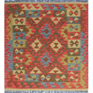 One-of-a-Kind Vallejo Kilim Melek Hand-Woven Wool Rust Area Rug