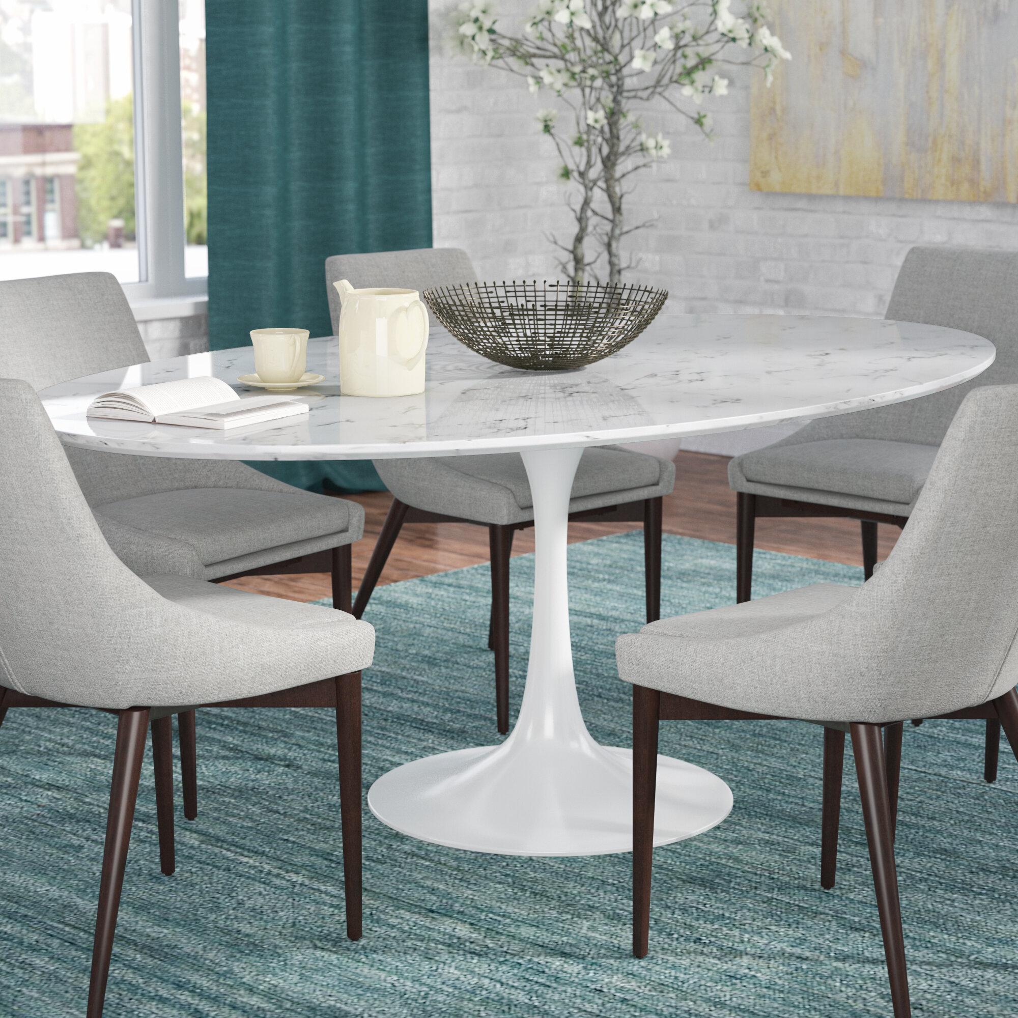 Langley Street Julien Artificial Marble Oval Dining Table U0026 Reviews    Wayfair