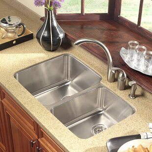 Undermount 60/40 Kitchen Sinks | Wayfair on 24 x 16 sink, hammered copper farmhouse sink, cast iron undermount double sink, copper bowl sink, 24 bathroom vanity with sink, 70 30 undermount stainless steel sink,