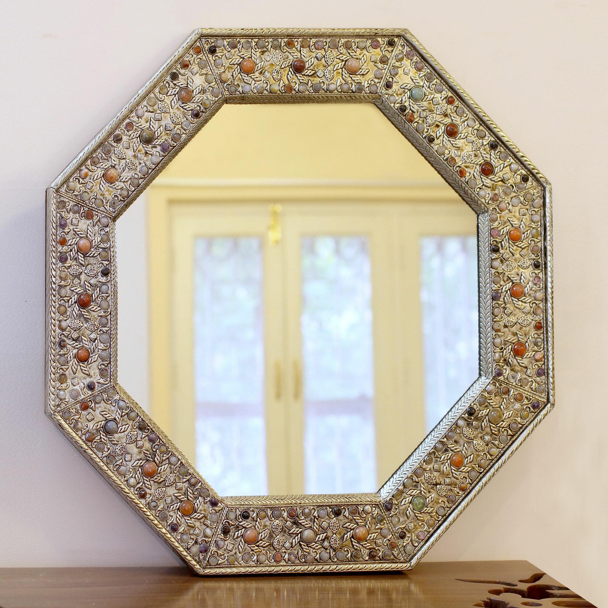 Novica Elegance Nickel On Brass Glass Inlay Wall Mirror | Wayfair