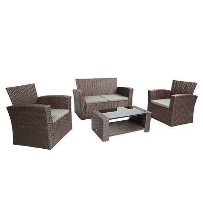 Bay Isle Home Reordan 4 Pieces Sofa Set with Cushions Frame Color: Chocolate