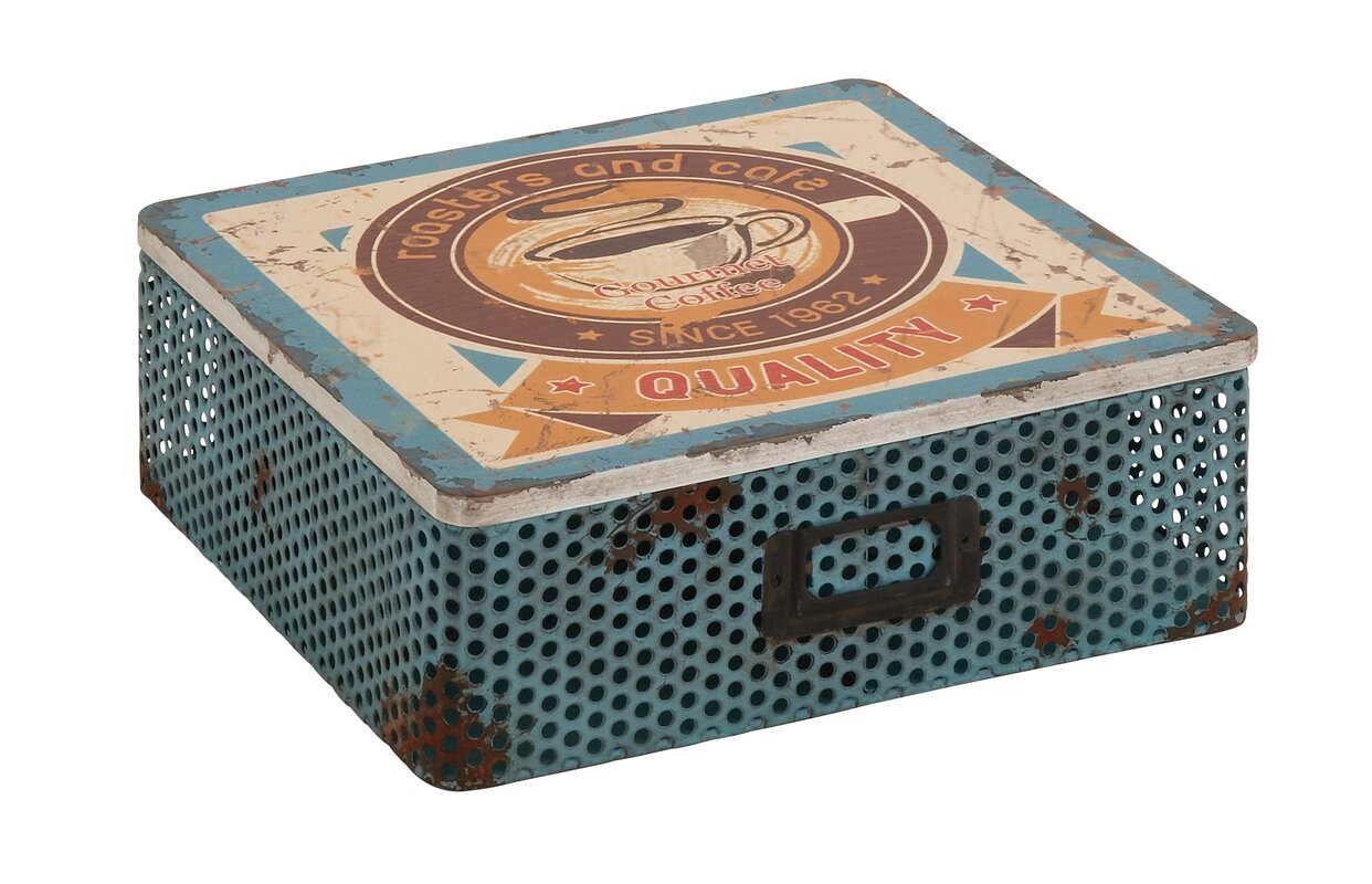 Cole grey metal wood with lid decorative box reviews for Decor containers coles