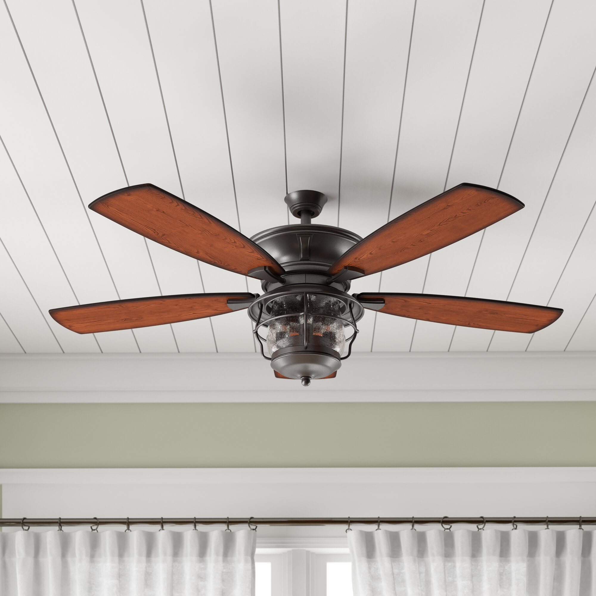 Birch Lane Heritage 52 Quebec 5 Blade Outdoor Ceiling Fan Light Kit Included Reviews