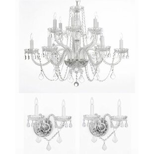 Anthony 3 Piece Crystal Chandelier and Wall Sconces Lighting Set  sc 1 st  Wayfair & Crystal Chandelier Wall Sconce | Wayfair